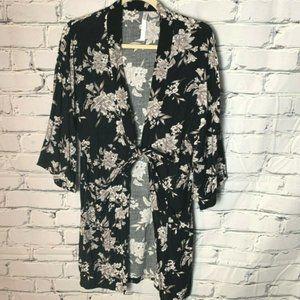 😊 Spiritual Gangster Kimono Robe Floral Black Tan